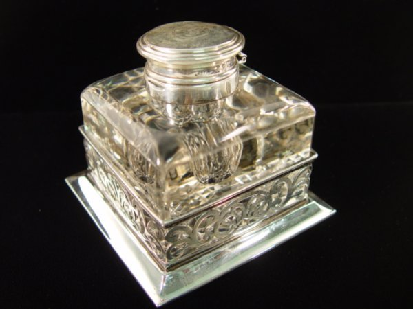 1: English Sterling and Crystal Inkwell