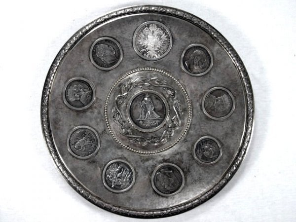 2: Antique Silver Tray with Silver Coins.