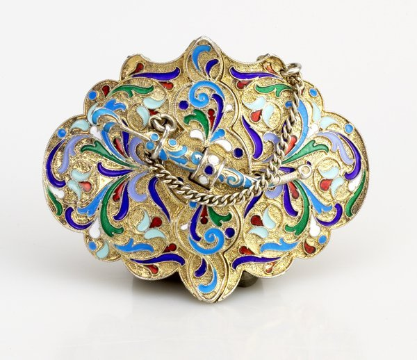 4: Russian Gilded Silver and Shaded  Enamel Belt Buckle