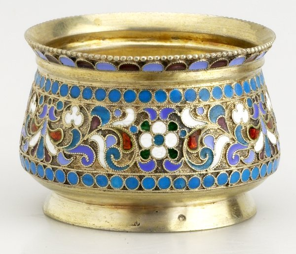 6: Russian Gilded Silver and Shaded  Enamel Bowl, Circa