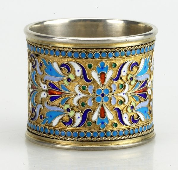 7: Russian Gilded Silver and Shaded  Napkin Ring, Circa