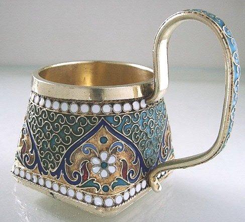 8: Russian Silver and Enamel Mini Tea Glass Holder