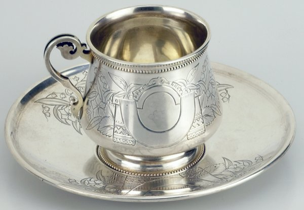 9: A Russian Silver Tea Cup and Saucer, 19c.