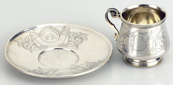 9: A Russian Silver Tea Cup and Saucer, 19c. - 2
