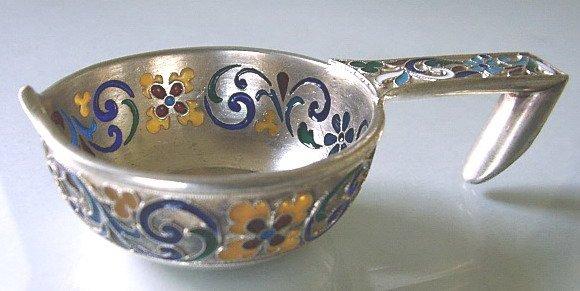12: Imperial Russian Silver & Enamel Kovsh by Lebedev.