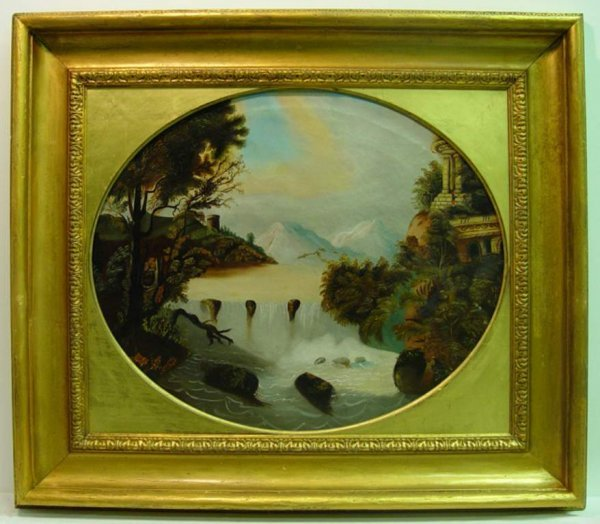 12: Oval Oil on Canvas of Italian Mountain Scene. C19th
