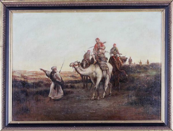 22: Continental School 19c. Painting. An Arab Caravan.