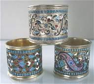 Three Russian Silver & Enamel Napkin Rings.