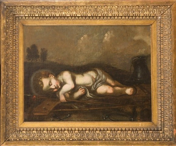 10: Old master Painting 18c. Sleeping Cupid.