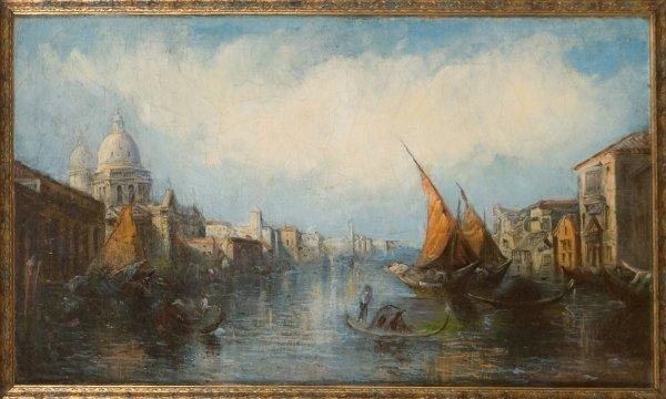 20: Continental School Painting. Circa 1920. Venice Vie