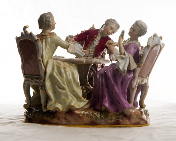 190: Meissen porcelain Card players. Late 19c., H.6.5 i