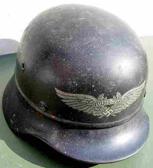 320: M1935 BEADED GERMAN WWII LUFTSCHUTZ HELMET.