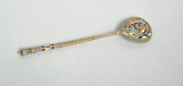 7: Russian silver and enamel tea spoon by Andrey Nikola