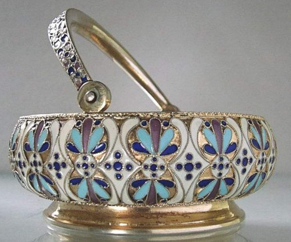 9: Russian Silver & Cloisonne Enamel Sugar Bowl.