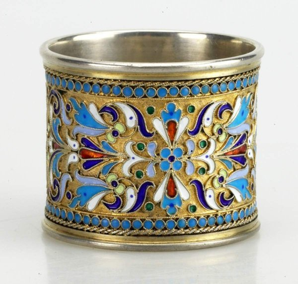 16: Russian Gilded Silver and Shaded  Napkin Ring, Circ