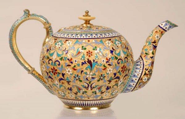 17: A Russian silver gilt and cloisonne enamel teapot,