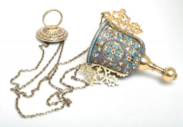 21: Russian gilded silver and enamel Lampada