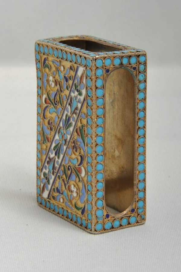 23: Russian gilded silver and enamel match box holder