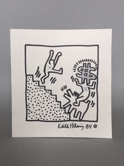 Mixed Media on paper signed Keith Haring - 4
