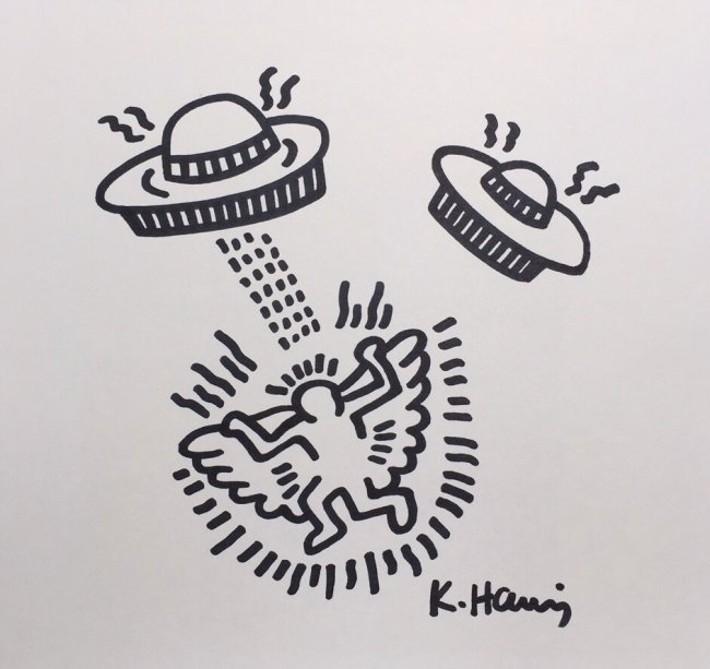 Keith Haring ink drawing on paper
