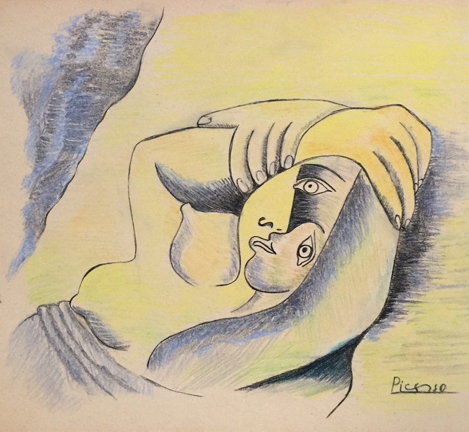 Pablo Picasso pastel, charcoal on paper