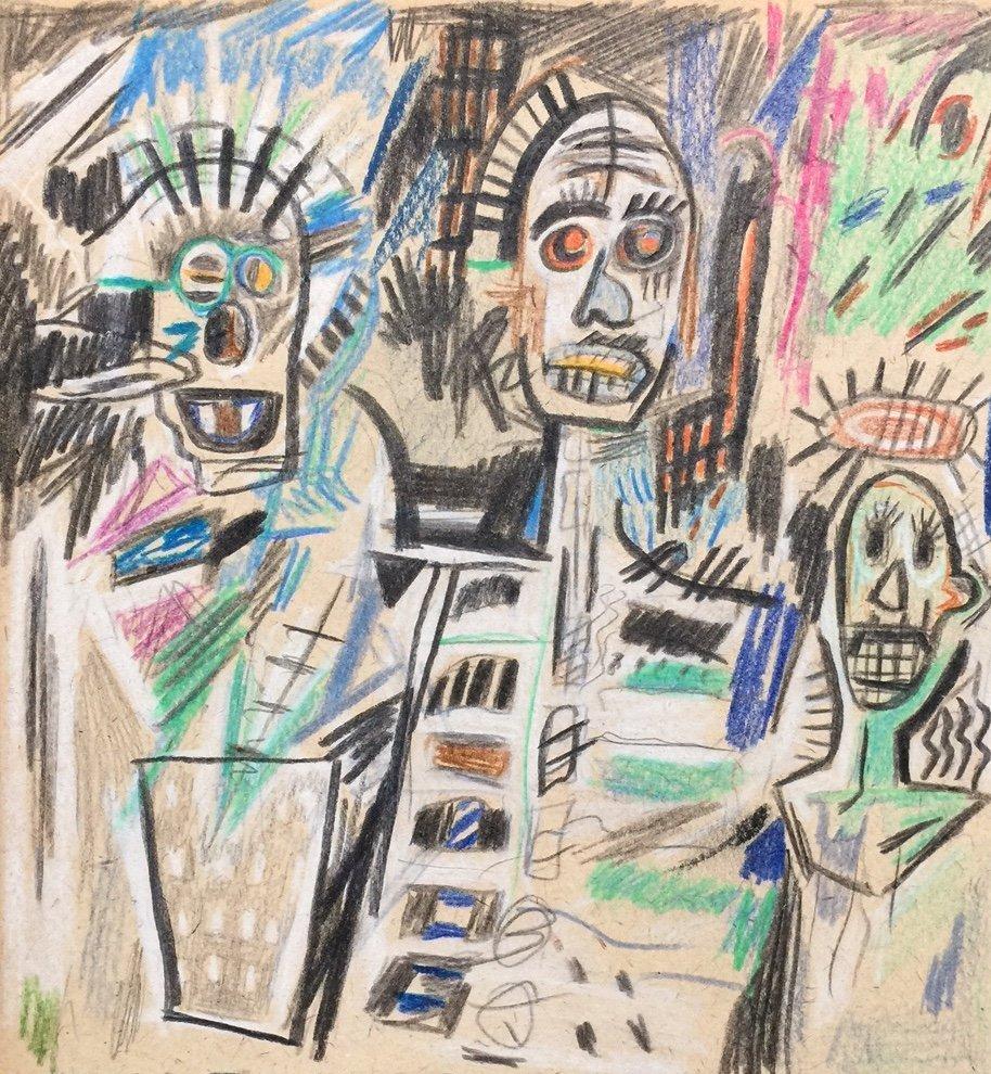 Jean-Michel Basquiat mixed media on paper
