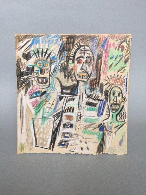 Jean-Michel Basquiat mixed media on paper - 2