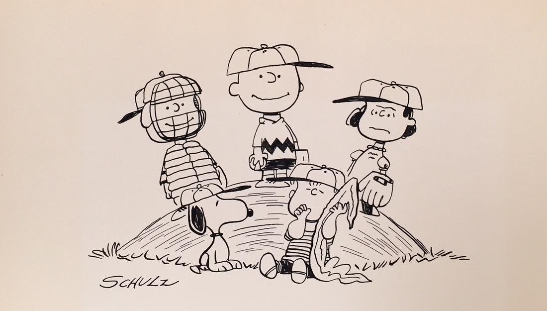 Ink drawing on paper signed Schulz