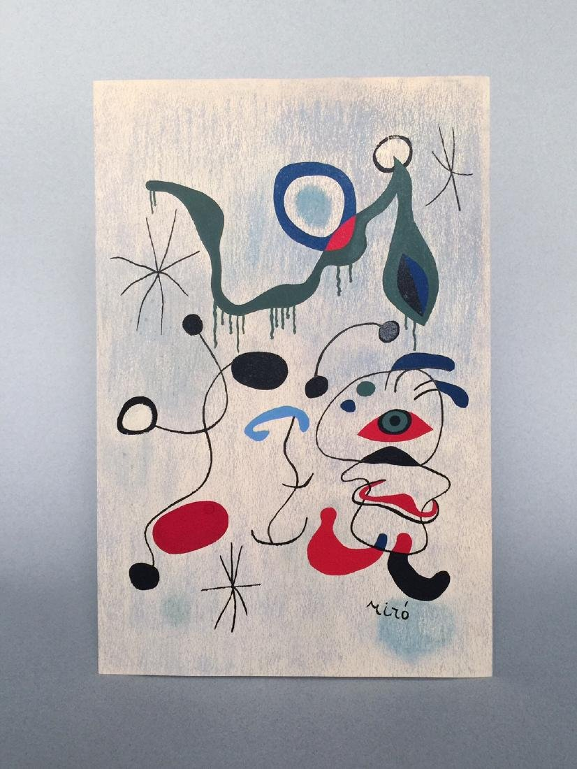 Joan Miro pastel, tempera on paper - 2