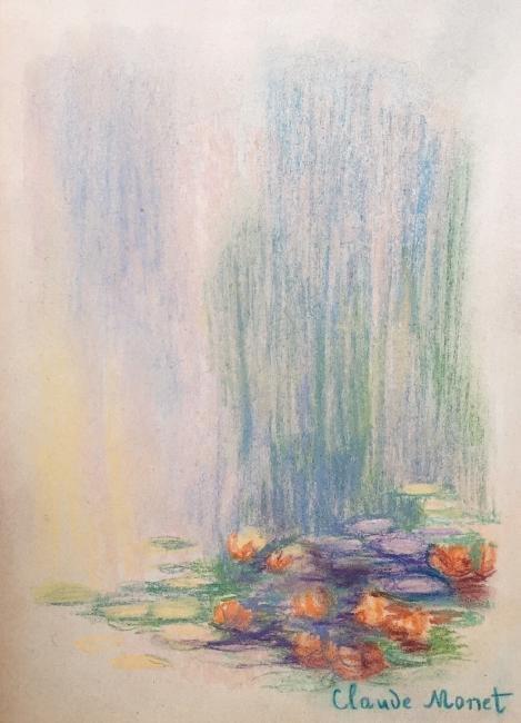 Claude Monet pastel on paper