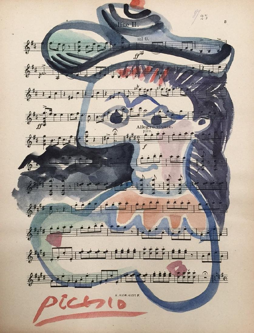 Watercolor on paper signed Picasso