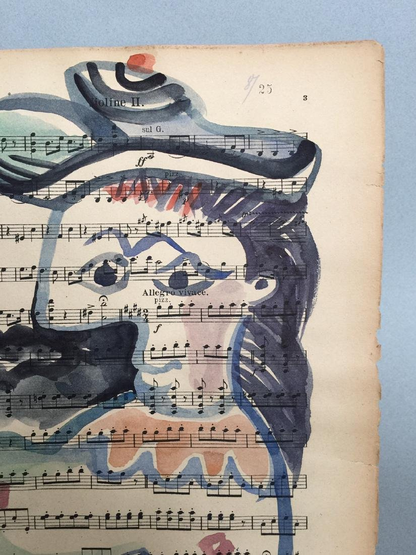 Watercolor on paper signed Picasso - 3