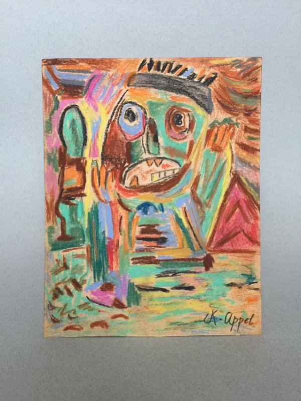 Mixed media on paper signed Appel - 2