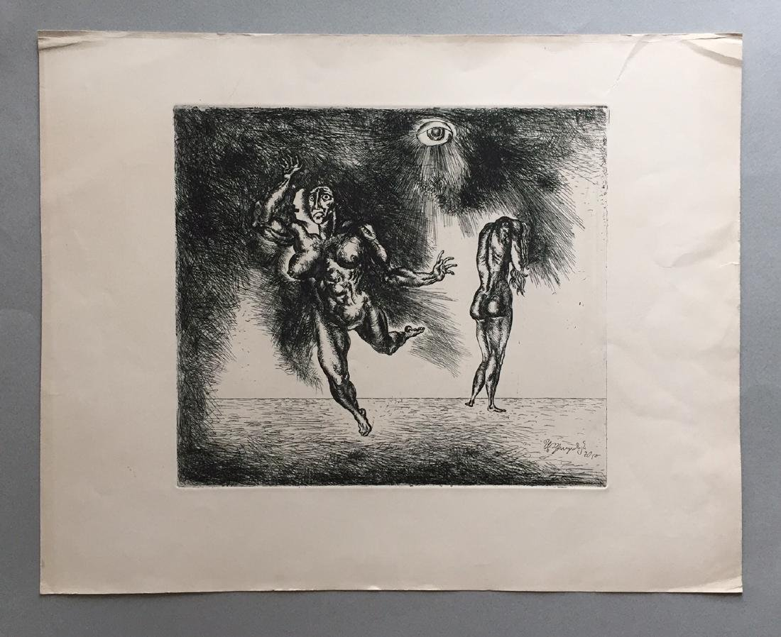 Engraving on paper signed in print, surrealism - 2