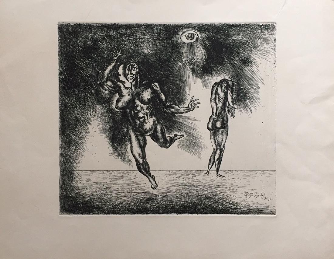 Engraving on paper signed in print, surrealism - 6