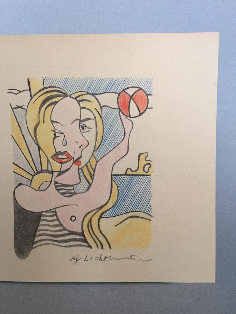 Crayon on paper of Roy Lichtenstein style - 3