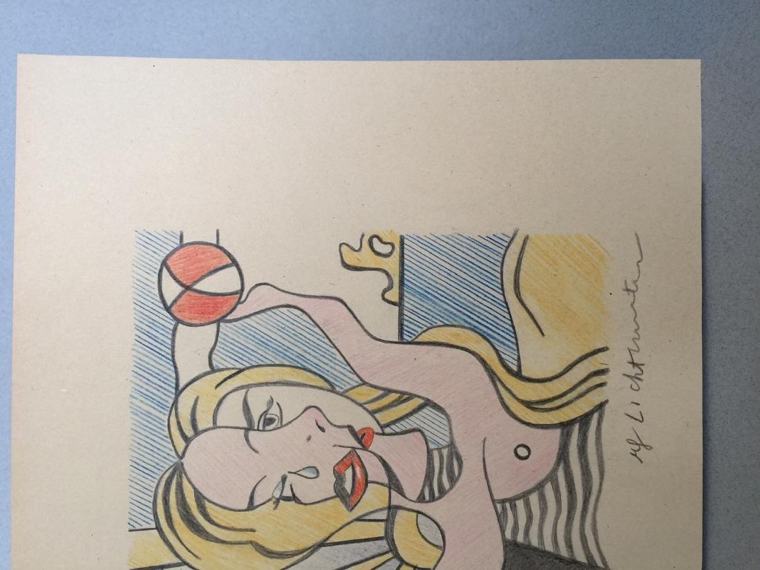 Crayon on paper of Roy Lichtenstein style - 5