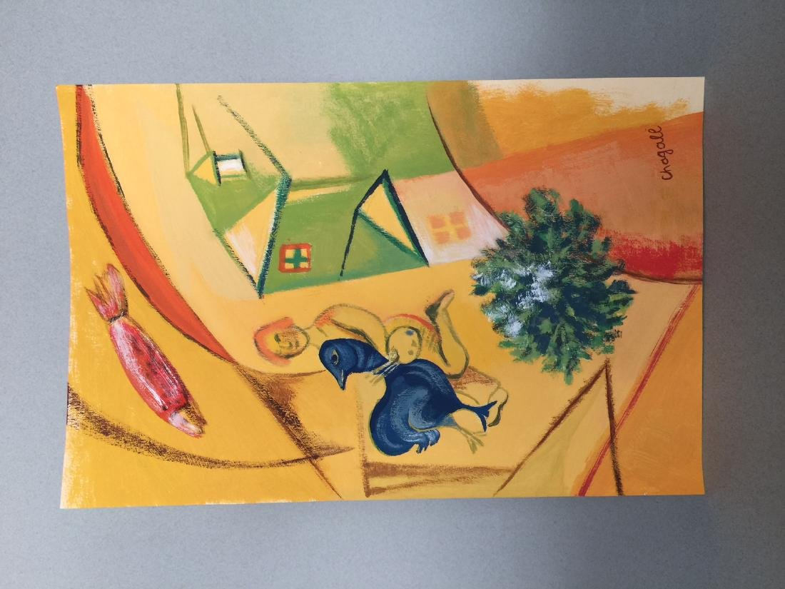 Marc Chagall gouache on paper style - 2