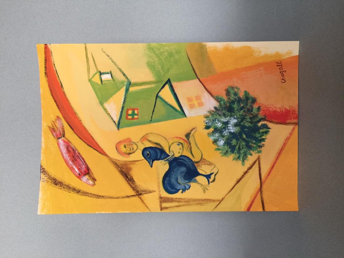 Marc Chagall gouache on paper style - 5