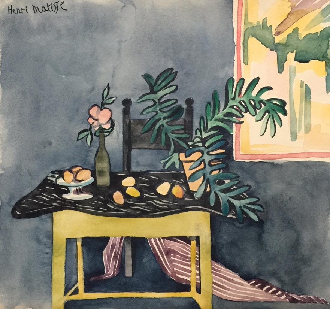 Henri Matisse watercolor on paper style
