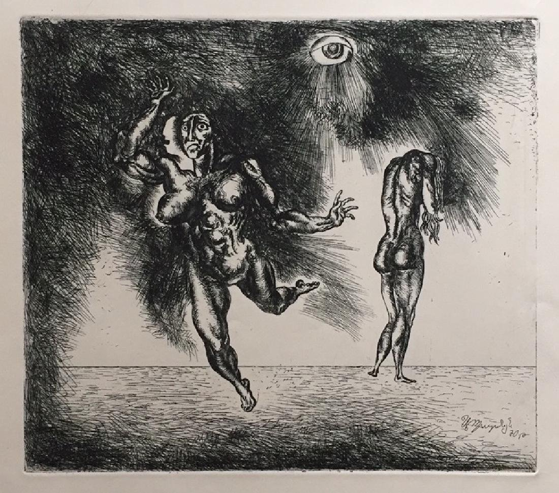 Engraving on paper signed in print, surrealism