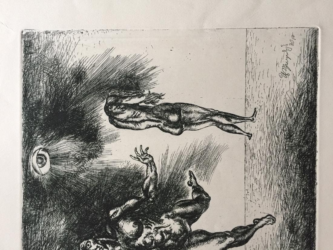 Engraving on paper signed in print, surrealism - 4