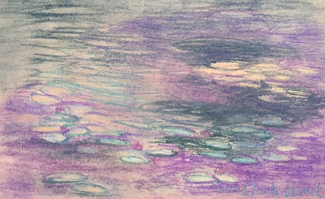 Claude Monet pastel on paper style