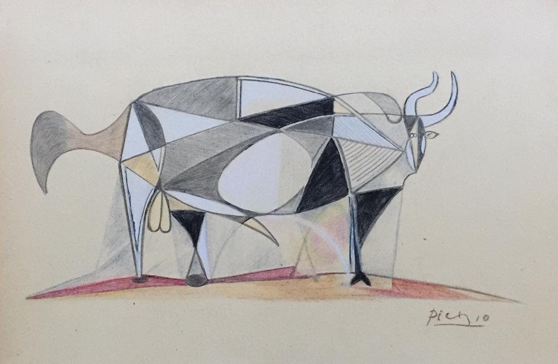 Mixed media on paper Pablo Picasso in the cubism style