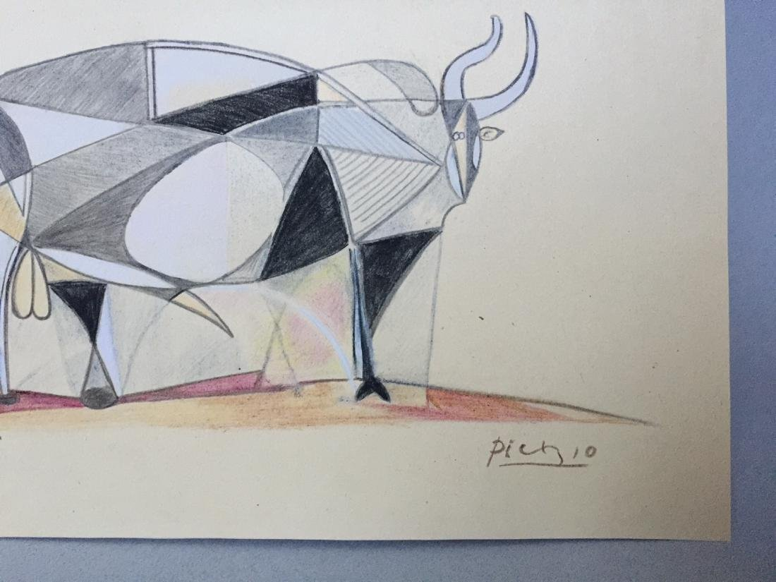 Mixed media on paper Pablo Picasso in the cubism style - 3