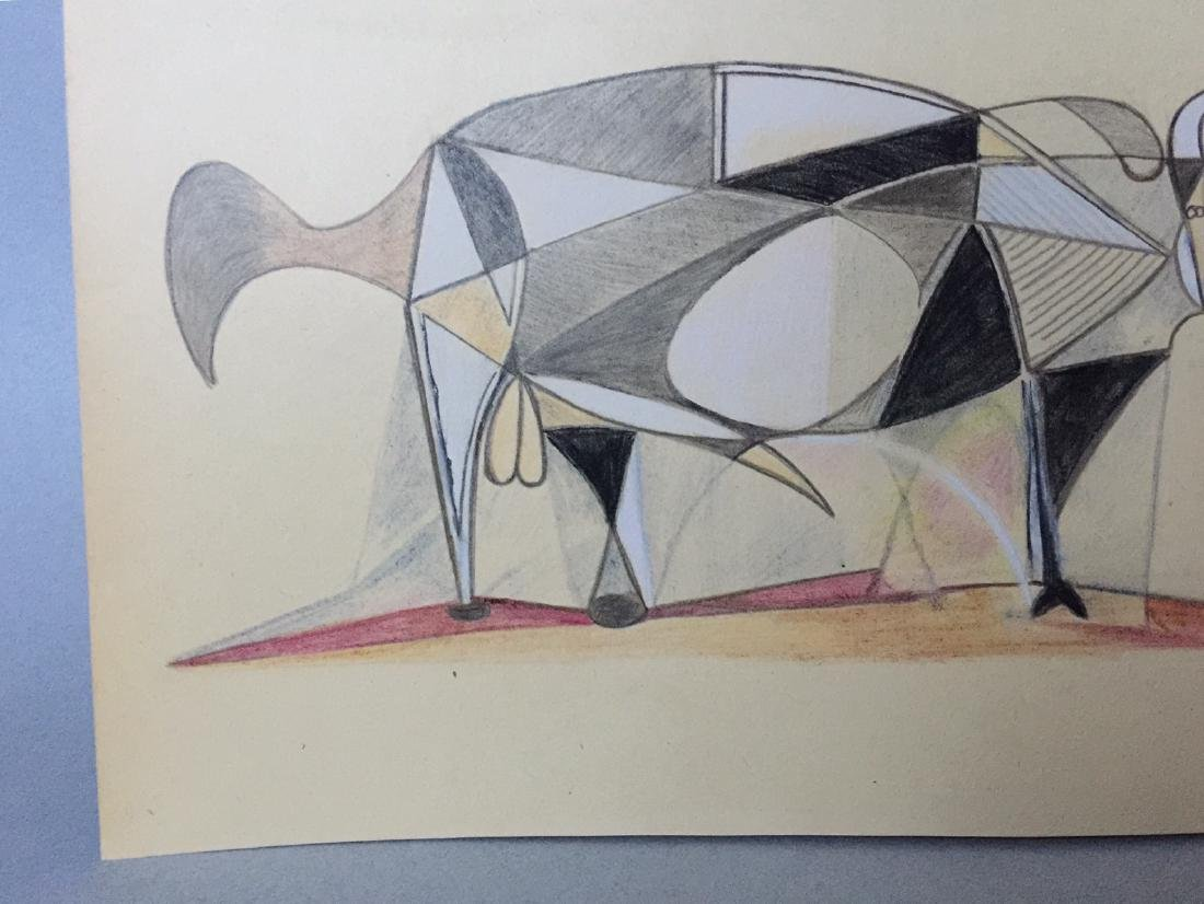 Mixed media on paper Pablo Picasso in the cubism style - 4