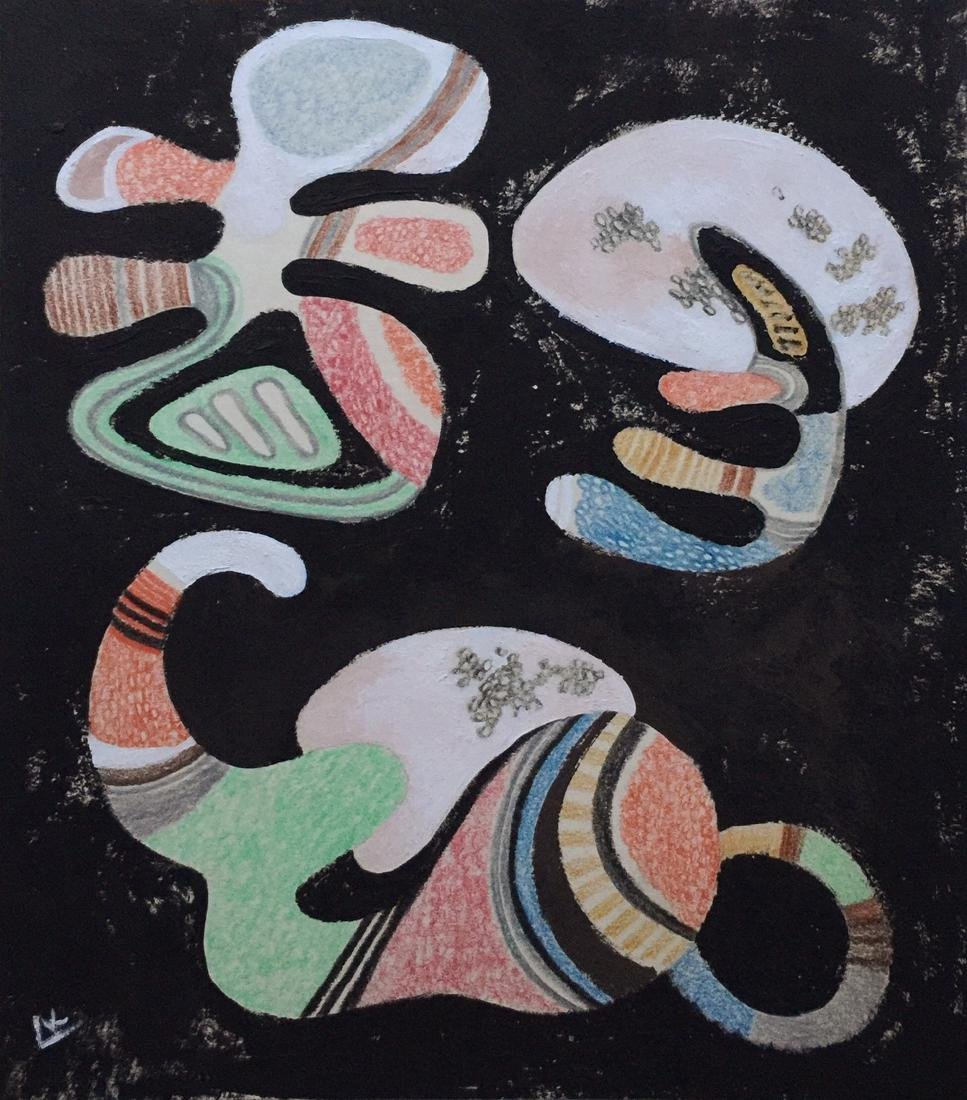 Wassily Kandinsky tempera, crayons on paper