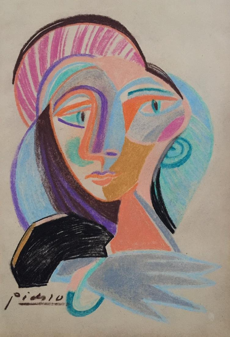 Mixed media on paper Pablo Picasso style