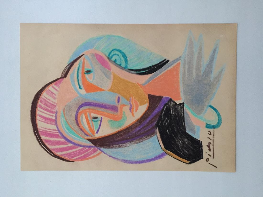 Mixed media on paper Pablo Picasso style - 5