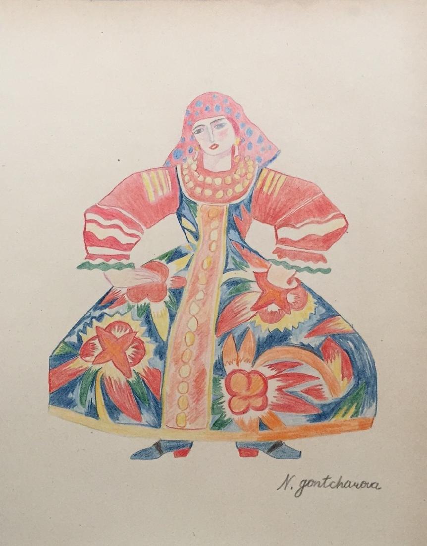 Crayon on paper Natalia Goncharova